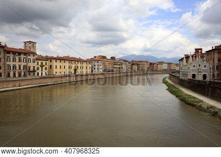Pisa (pi), Italy - June 10, 2017: View Of Arno River, Pisa, Tuscany, Italy, Europe