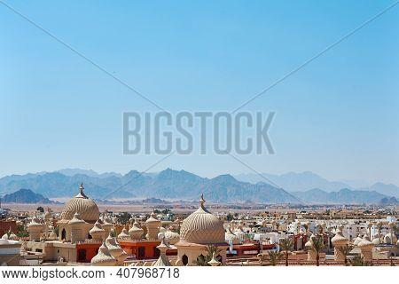 Sharm El Sheikh, Egypt - July 28, 2019: Traditional Arabic City With Minarets. Landscape Of Egypt Ar