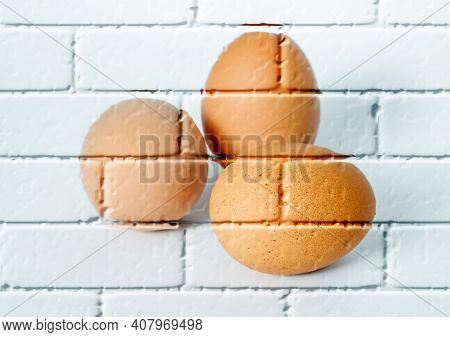 Three Brown Chicken Eggs ,imitation Graffiti,mural On A Brick Wall,imitation Painting