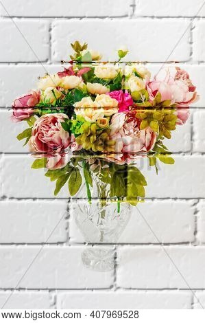 Colors Artificial Flowers In A Decorative Vase On A Light Background,graffiti,mural,wall,bricks,pain