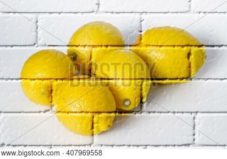 Ripe Yellow Lemons ,imitation Graffiti,mural On A Brick Wall,imitation Painting