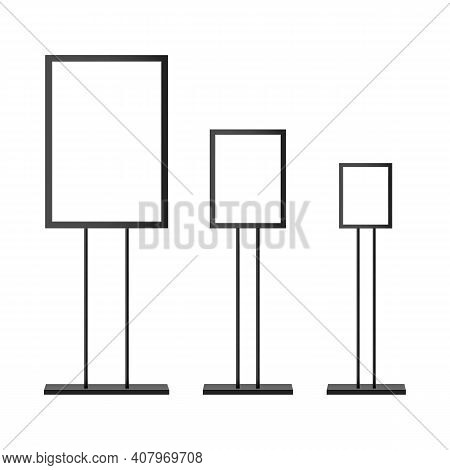 Floor Standing Display And Sign Stand For Advertising, Isolated On White Background. Vector Illustra
