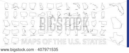 Maps Of The Us State, Outline Maps Collection. Big Set Of Vector Map.