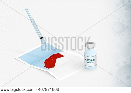 California Vaccination, Injection With Covid-19 Vaccine In Map Of California. Vaccination Concept Il