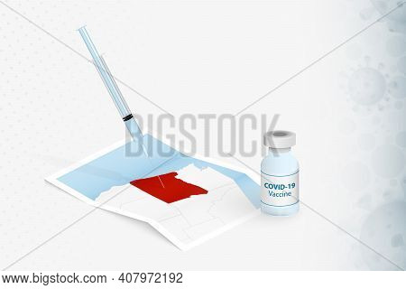 Oregon Vaccination, Injection With Covid-19 Vaccine In Map Of Oregon. Vaccination Concept Illustrati