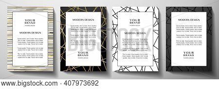 Modern Black And Gold Frame Design Set (collection). Formal Vector Layout Background With Luxury Cre