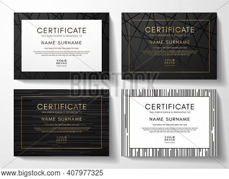 Modern Black Certificate Frame Design Set With Luxury Line Pattern. Creative Premium Background For