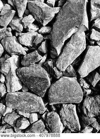 Pile Of Rubble Close Up. Preparation For The Construction Of Gray Rubble