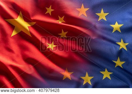 China And Eu Flag Blowing In The Wind.