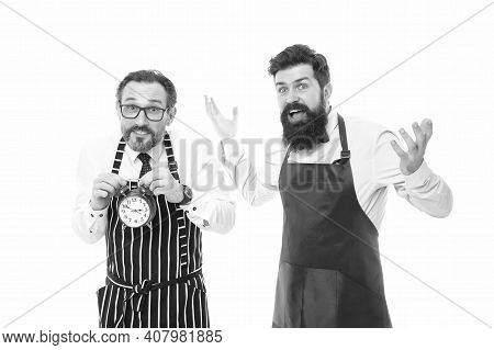 Man Bearded Hipster And Mature Chef Apron White Background. Working Hours And Lunch Break. Lack Of T