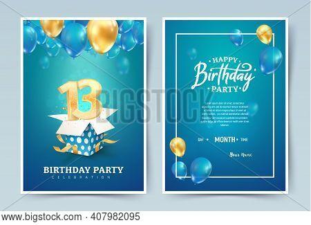 13th Years Birthday Vector Invitation Double Card. Thirteen Years Anniversary Celebration Brochure.