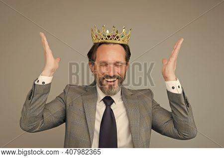 Selfish For Success. Businessman Wear Crown Grey Background. Career Success. Bearded Man Enjoy Succe