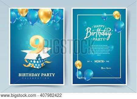 9th Years Birthday Vector Invitation Double Card. Nine Years Anniversary Celebration Brochure. Templ