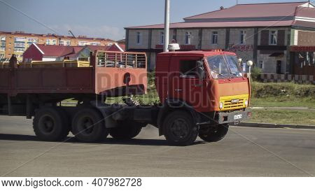 Kazakhstan, Ust-kamenogorsk, July 23, 2020: Old Truck With Trailer. Kamaz 5410. Old Soviet Truck