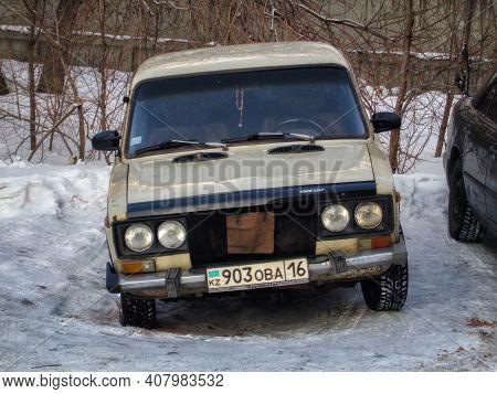 Kazakhstan, Ust-kamenogorsk, January 11, 2020: Vaz 2106 Zhiguli. Zhiguli Classic Soviet Car. Old Zhi