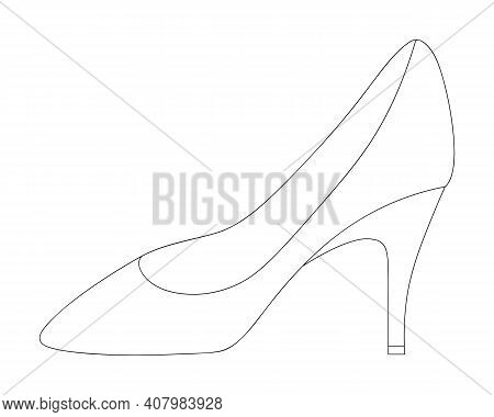 Shoe. Sketch. Womens Shoes With Heels. Vector Illustration. Outline On An Isolated Background. Color