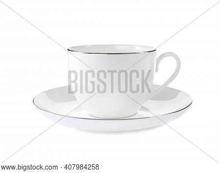 Teacup With Saucer Isolated On White. Kitchen Tableware