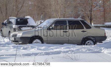Kazakhstan, Ust-kamenogorsk, February 20: 2020: Lada Samara (vaz 21099, Lada Sputnik) Old Russian Ca