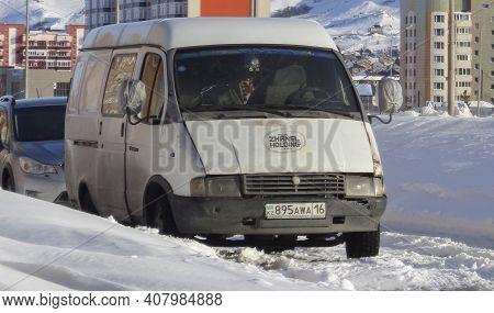 Kazakhstan, Ust-kamenogorsk, February 21, 2020: Gaz 2705 (gazelle). Russian Light Commercial Vehicle