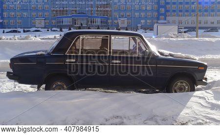 Kazakhstan, Ust-kamenogorsk,  February 21, 2020: Vaz 2106 Zhiguli. Zhiguli Classic Soviet Car. Old Z