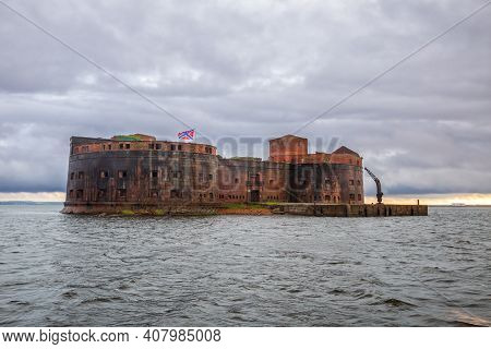 Fort Emperor Alexander I Or Plague Fort In The Gulf Of Finland Of The Baltic Sea. Sea Fortress In Kr