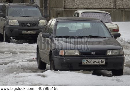 Kazakhstan, Ust-kamenogorsk, March 3, 2020: Nissan Primera P10, Nissan X-trail T30 And Moskvitch 412