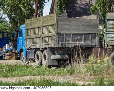 Kazakhstan, Ust-kamenogorsk, May 17, 2020: Blue Kamaz 5320. Old Soviet Truck. Old Truck With A New C