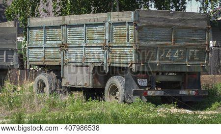 Kazakhstan, Ust-kamenogorsk May 17, 2020: Old Trailer Of Old Truck. Transportation. Commercial Busin
