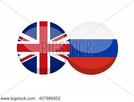 Uk And Russian Flag Isolated On White Background. English-russian Conversation Concept. Learn Langua