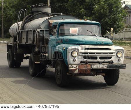 Kazakhstan, Ust-kamenogorsk, June 6, 2020: Old Soviet Truck Zil 130. Retro Truck. Grunge