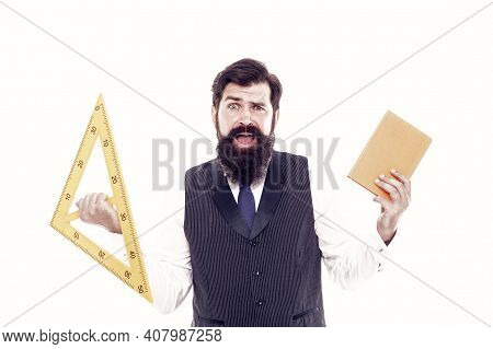 Be Wise Guy, Give Math Try. Scared Man Back To School. Bearded Man Hold Book And Triangle. Brutal Ma