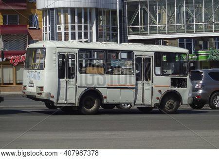 Kazakhstan, Ust-kamenogorsk, June 12, 2020: Urban Bus Paz 3205 In The City Street. Public Transport.