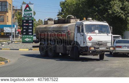 Kazakhstan, Ust-kamenogorsk, June 12, 2020: Tanker Fuel Truck Delivering Fuel At Gas Station