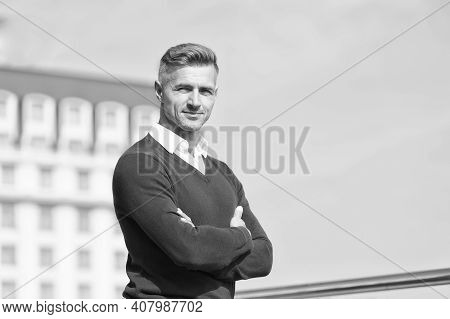 Nice Sunny Day. Confident Guy Smiling Outdoor. He Radiates Charisma. Male Beauty Fashion. Businessma