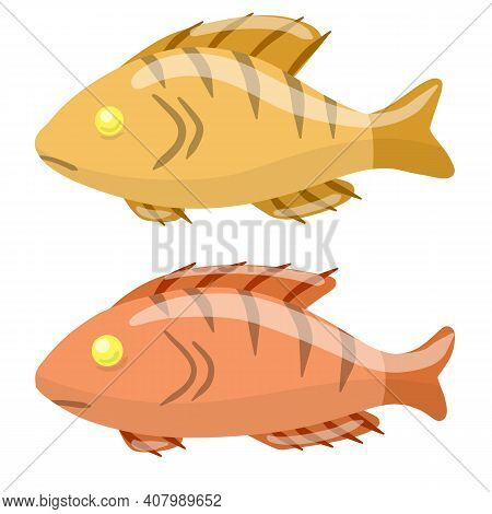 Set Of Fish. River Animal With Scales, Fins And A Tail. Sea Food. Cartoon Flat Illustration Isolated