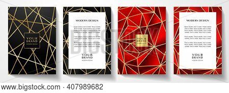 Modern Premium Red And Black Cover Design Set. Luxury Polygon Line Pattern (triangle Texture) Backgr