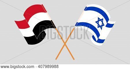 Crossed And Waving Flags Of Yemen And Israel. Vector Illustration