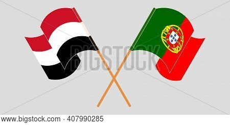 Crossed And Waving Flags Of Yemen And Portugal. Vector Illustration