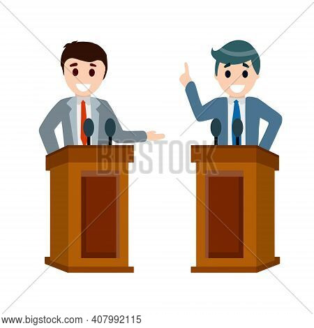 Political Debate Between Two Candidates. Grandstand And Stand. Dialogue And Elections. Podium For Le