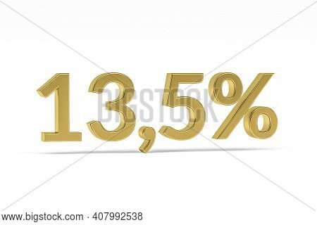 Gold Digit Thirteen Point Five With Percent Sign - 13,5% Isolated On White - 3d Render