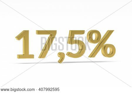 Gold Digit Seventeen Point Five With Percent Sign - 17,5% Isolated On White - 3d Render