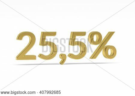 Gold Digit Twenty-five Point Five With Percent Sign - 25,5% Isolated On White - 3d Render