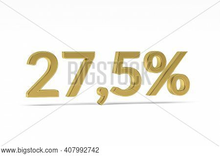 Gold Digit Twenty-seven Point Five With Percent Sign - 27,5% Isolated On White - 3d Render