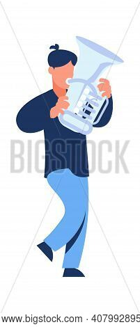 Musician With Trumpet. Cartoon Walking Trumpeter. Character Holding Musical Instrument. Cute Man Pla