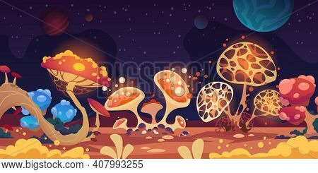Alien Landscape. Fantasy Space Background With Colorful Monster Mushrooms, Magic Game Flora. Fantast