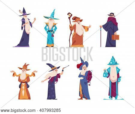 Cartoon Wizard. Magician Old Characters With Beard Wear Long Robes And Pointed Hats. Senior Wise Sor