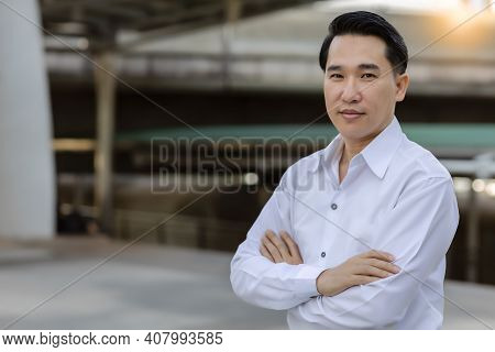 Portrait Asian Adult Man With Smile Face Confident Business Man In White Shirt Looking At Camera Whi
