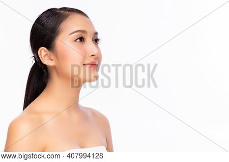 Beautiful Asian Woman Has Beauty Facial Skin Look At Copy Space Portrait Attractive Young Asia Girl