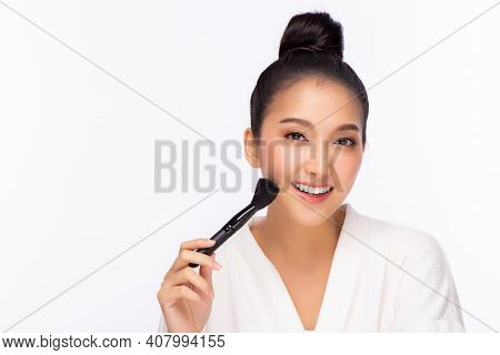 Happy Beauty Asian Woman Hold Makeup Brush Attractive Beautiful Girl Get Beauty Makeup By Using Brus