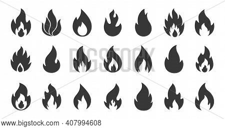 Fire Icons. Simple Flame Silhouettes. Black Contour Warning Minimal Signs. Collection Of Isolated In